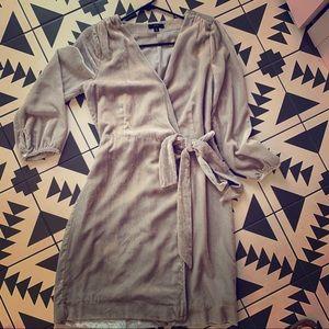 Worn once!! J crew silver velvet wrap dress 4